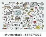 gadget icons vector set. hand... | Shutterstock .eps vector #554674033