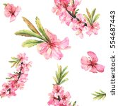 romantic seamless pattern with... | Shutterstock . vector #554687443