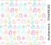 seamless pattern with hand... | Shutterstock .eps vector #554698183