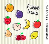 collection of vector fruits... | Shutterstock .eps vector #554701447
