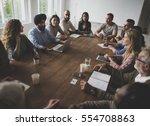 diverse people teamwork on... | Shutterstock . vector #554708863