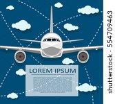 passenger air transportation... | Shutterstock .eps vector #554709463