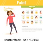 faint. reasons. vector. cartoon.... | Shutterstock .eps vector #554710153