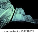 abstract architecture 3d... | Shutterstock . vector #554710297