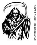 grim reaper vector tattoo | Shutterstock .eps vector #554711293