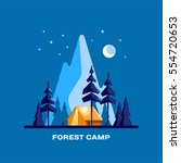 forest camp. night landscape... | Shutterstock .eps vector #554720653