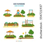 kids playground. colorful flat... | Shutterstock .eps vector #554721937