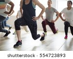 diversity people exercise class ... | Shutterstock . vector #554723893