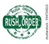 rubber stamp with the word rush ... | Shutterstock .eps vector #554724013