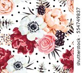 bouquet with blackberries on... | Shutterstock .eps vector #554749837