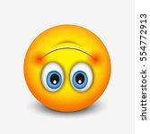 cute upside down face emoticon  ... | Shutterstock .eps vector #554772913
