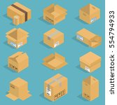 isometric moving box vector... | Shutterstock .eps vector #554794933