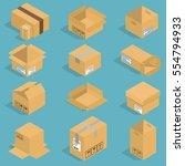 isometric moving box vector... | Shutterstock .eps vector #554794933