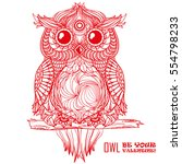owl be your valentine  design... | Shutterstock .eps vector #554798233