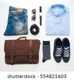 beautiful fashion clothes set... | Shutterstock . vector #554821603
