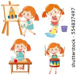 girl in blue dress doing... | Shutterstock .eps vector #554837497