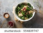 healthy raw kale and quinoa... | Shutterstock . vector #554839747