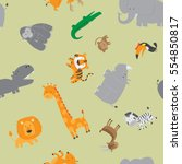 cute zoo animals seamless... | Shutterstock .eps vector #554850817