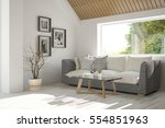 white room with sofa and green... | Shutterstock . vector #554851963
