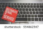 Small photo of Concept Image of a red sticky note pasted on a keyboard with a message word white in color Distribute Denial of Service (DDOS)