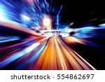 moving traffic light trails at... | Shutterstock . vector #554862697