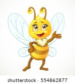 cute bee stand on white... | Shutterstock .eps vector #554862877