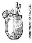 alcoholic cocktail hand drawn...   Shutterstock .eps vector #554863933