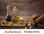olive oil flavored with spices... | Shutterstock . vector #554865403