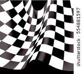 checkered flag flying on black... | Shutterstock .eps vector #554881597