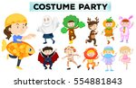 kids wearing different party... | Shutterstock .eps vector #554881843