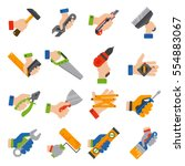 hands with construction tools... | Shutterstock .eps vector #554883067