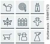 set of 9 holticulture icons.... | Shutterstock .eps vector #554897173