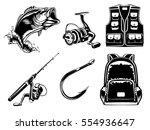 fishing set of bass  jacket ... | Shutterstock .eps vector #554936647