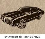 retro muscle car vector... | Shutterstock .eps vector #554937823