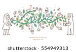 vector illustration happy... | Shutterstock .eps vector #554949313