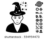magic master icon with bonus... | Shutterstock .eps vector #554954473