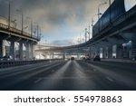 highway junction at the middle... | Shutterstock . vector #554978863