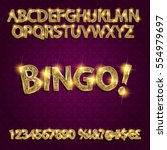 bingo. golden glowing alphabet... | Shutterstock .eps vector #554979697
