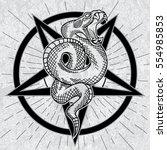 viper snake in pentagram. hand...   Shutterstock .eps vector #554985853