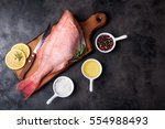 fresh fish raw snapper with... | Shutterstock . vector #554988493