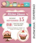 kitchen shower invitation card | Shutterstock .eps vector #554989663