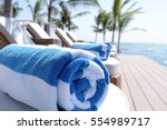 rolled up towel closeup on... | Shutterstock . vector #554989717