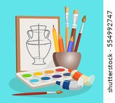 unfinished picture of vase near ... | Shutterstock .eps vector #554992747