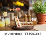 big  tasty sandwich with ham ... | Shutterstock . vector #555001867
