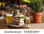 tasty and appetizing sandwich... | Shutterstock . vector #555001897