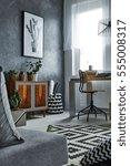 multifunctional grey apartment... | Shutterstock . vector #555008317
