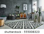 grey flat with black and white... | Shutterstock . vector #555008323