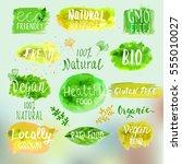 eco  bio  organic  gluten free  ... | Shutterstock .eps vector #555010027