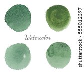 green watercolor stains with... | Shutterstock .eps vector #555012397