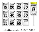 speed limit road sign set | Shutterstock .eps vector #555016837